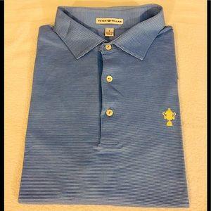 Peter Millar Blue w/ White Stripe Polo Shirt L
